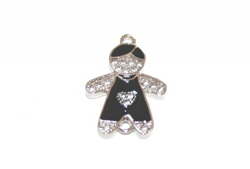 Link Cubic Zirconia Bambino Cuore -  Argento 18x13mm - 1pz