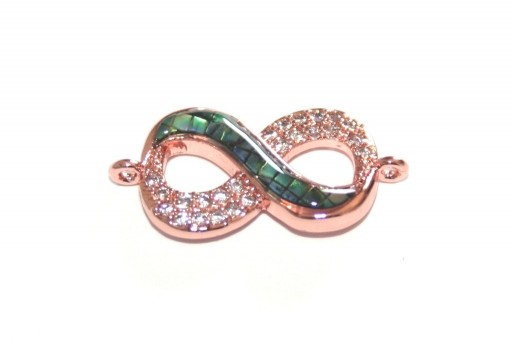 Link Cubic Zirconia Infinito Abalone Shell - Oro Rosa 22x11mm - 1pz