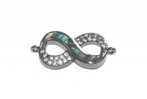 Link Cubic Zirconia Infinito Abalone Shell - Gunmetal 22x11mm - 1pz