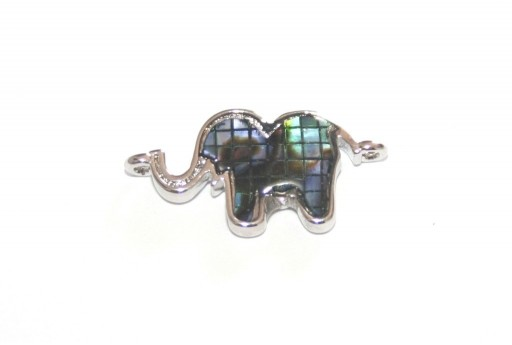 Link Cubic Zirconia Elephant Abalone Shell - Silver 20x10mm - 1pcs