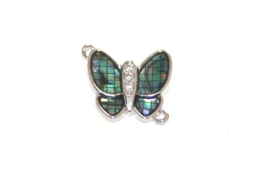 Link Cubic Zirconia Butterfly Abalone Shell - Silver 14x12mm - 1pcs