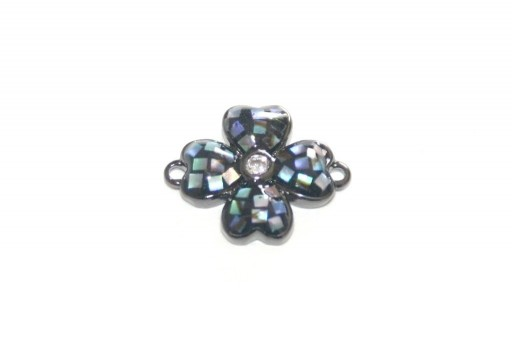 Link Cubic Zirconia Quatrefoil Abalone Shell - Silver 14x11mm - 1pcs
