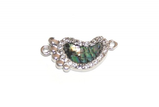 Link Cubic Zirconia Heart Abalone Shell - Silver 19X9mm - 1pcs