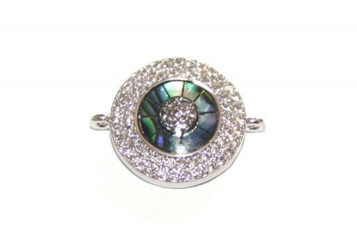 Link Cubic Zirconia Round Abalone Shell - Silver 16mm - 1pcs