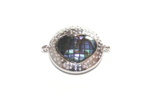 Link Cubic Zirconia Round Heart Abalone Shell - Silver 14mm - 1pcs