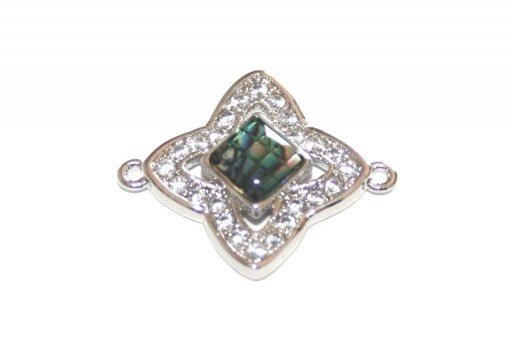 Link Cubic Zirconia Stella Abalone Shell - Argento 17x17mm - 1pz