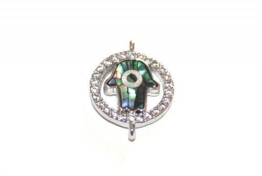 Link Cubic Zirconia Mano di Fatima Abalone Shell - Argento 12mm - 1pz
