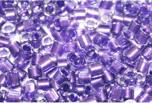 Miyuki Delica Seed Beads 8/0 - Sparkling Purple Lined Crystal - 8gr