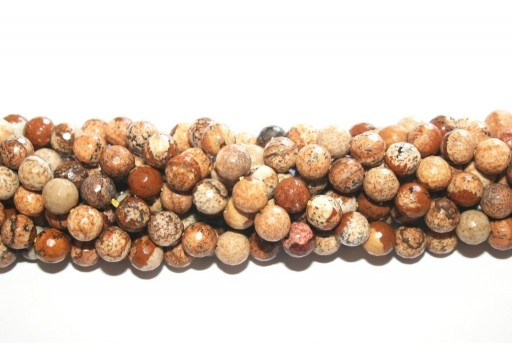 Picture Jasper Faceted Rounds Beads 6mm - 58pcs