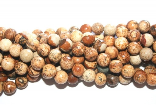Picture Jasper Faceted Rounds Beads 8mm - 46pcs
