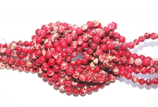 Dyed Jasper Impression Round Beads Red 4mm - 90pz