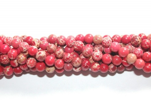 Dyed Jasper Impression Round Beads Red 6mm - 60pz