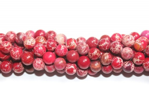 Dyed Jasper Impression Round Beads Red 8mm - 48pz