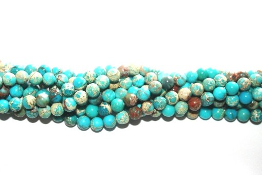 Dyed Jasper Impression Round Beads Turquoise 6mm - 60pz