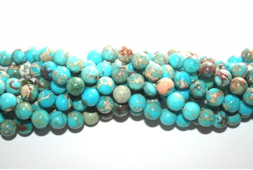 Dyed Jasper Impression Round Beads Turquoise 8mm - 48pz