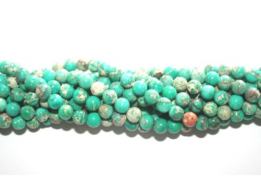 Dyed Jasper Impression Round Beads Light Green 6mm - 60pz