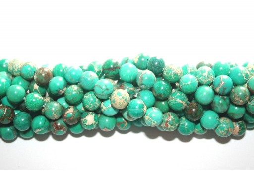 Dyed Jasper Impression Round Beads Light Green 8mm - 46pz