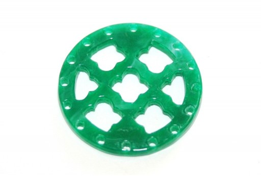 Laser Cut Round Connector Green Marble 27mm - 1pcs