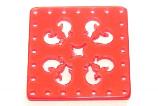 Laser Cut Square Connector Orange Red 30mm - 1pcs