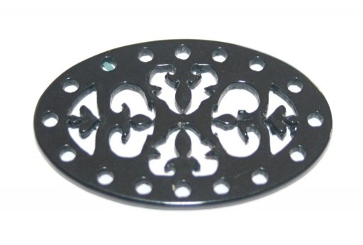 Laser Cut Oval Connector Black 40x25mm - 1pcs