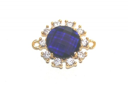 Blue Chic Strass Gold Plated Round 18mm