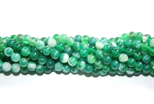 Dyed Striped Agate Round Beads Green 6mm - 64pcs