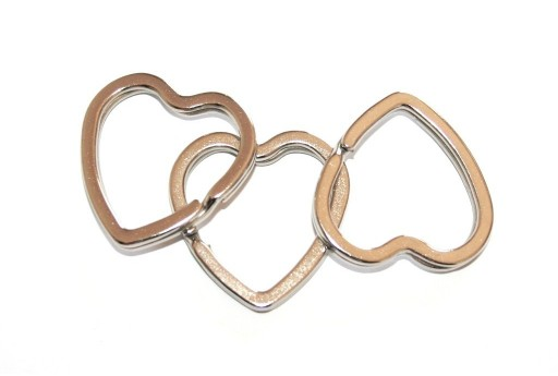 Iron Doble Loops Jump Rings Platinum Keyrings - Heart 31mm - 6pcs