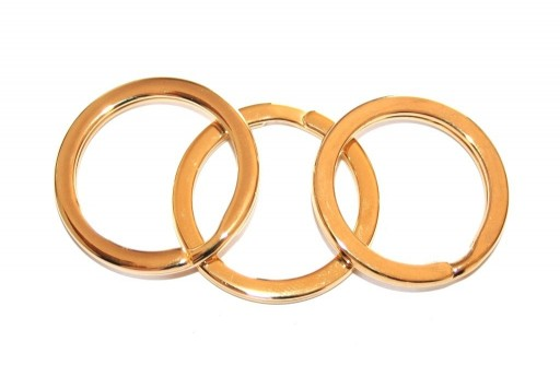 Steel Doble Loops Jump Rings Gold Keyrings - 32mm