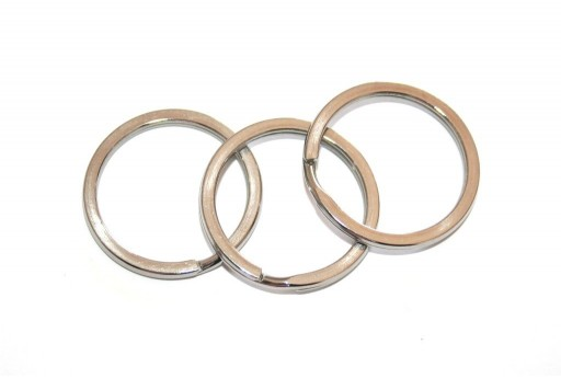 Steel Doble Loops Jump Rings Platinum Keyrings - 30x3mm