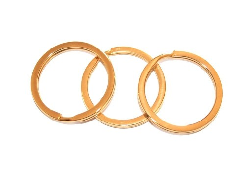 Steel Doble Loops Jump Rings Gold Keyrings - 30x2,5mm