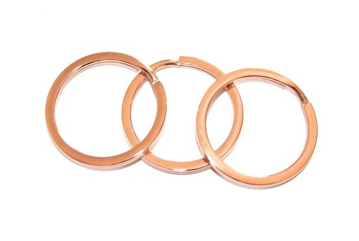 Steel Doble Loops Jump Rings Rose Gold Keyrings - 30x2,5mm