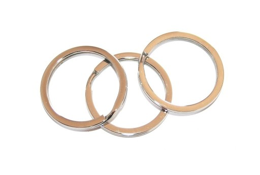 Steel Doble Loops Jump Rings Platinum Keyrings - 30x2,5mm