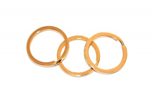 Steel Doble Loops Jump Rings Gold Keyrings - 25x2mm