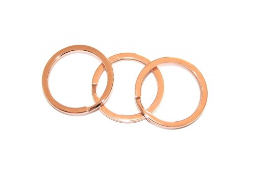 Steel Doble Loops Jump Rings Rose Gold Keyrings - 25x2mm