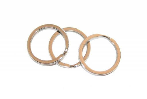 Steel Doble Loops Jump Rings Platinum Keyrings - 25x2mm