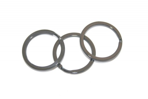 Steel Doble Loops Jump Rings Gunmetal Keyrings - 25x2mm