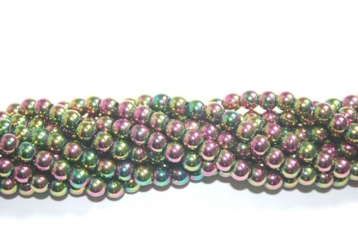 Purple/Green Color Plated Hematite Round Beads 6mm - 74pcs