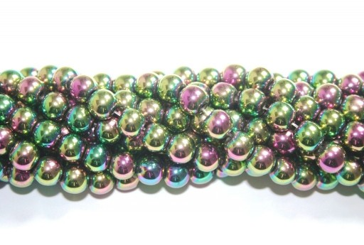 Purple/Green Color Plated Hematite Round Beads 8mm - 48pcs