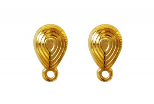 Gold Earring Drop 8x13mm - 2pcs