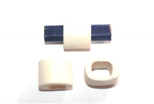 Regaliz Ceramic Slider Beads White 15x19mm - 2pcs
