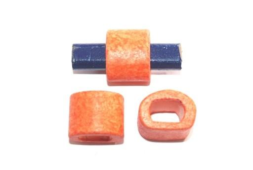 Regaliz Ceramic Slider Beads Orange 15x19mm - 2pcs