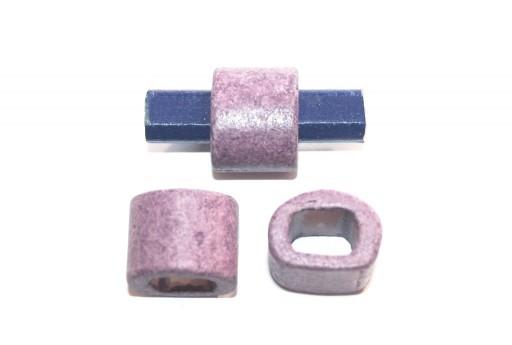 Regaliz Ceramic Slider Beads Purple 15x19mm - 2pcs