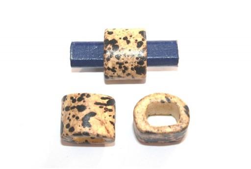 Regaliz Ceramic Slider Beads Beige Painted 15x19mm - 2pcs