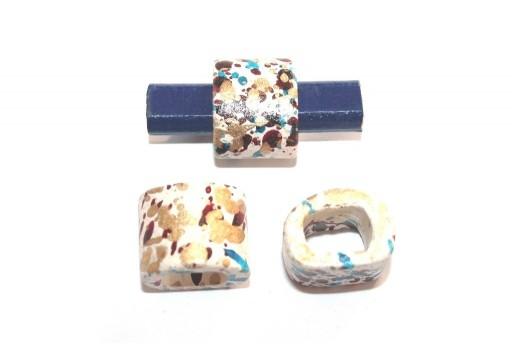 Regaliz Ceramic Slider Beads White Painted 15x19mm - 2pcs