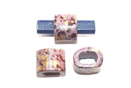 Regaliz Ceramic Slider Beads Purple Painted 15x19mm - 2pcs