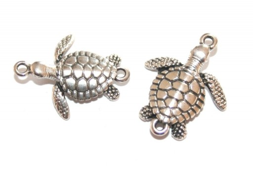 Metal Tortoise Link - Silver 21,5x17,5mm - 2pcs