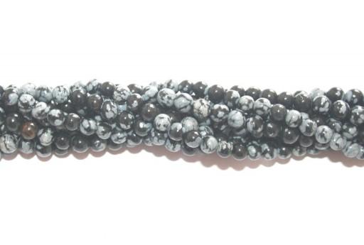 Round Snowflake Obsidian Bead Strand 4mm - 86pcs