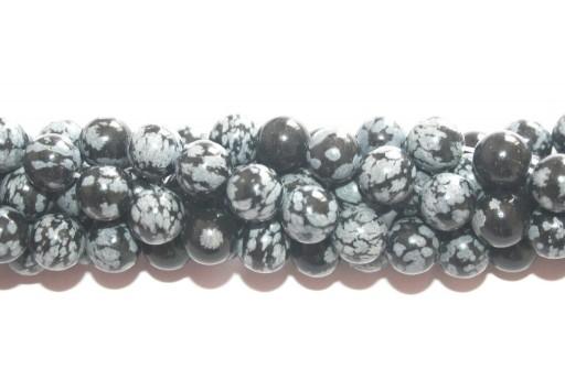 Round Snowflake Obsidian Bead Strand 8mm - 46pcs