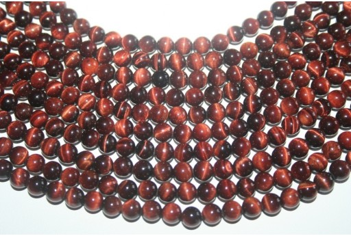 Tiger's Eye Round Bead Strand Red 64pcs 6mm OCDT6