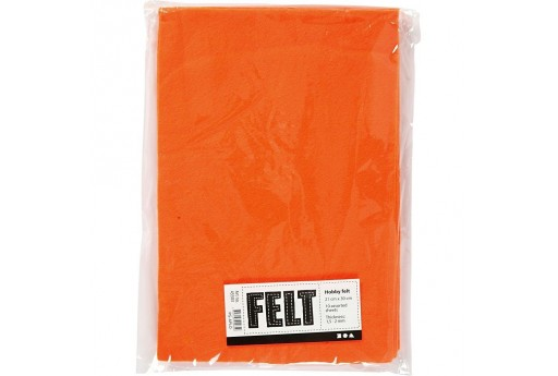 Soft Felt Orange 21x30cm 10 sheets